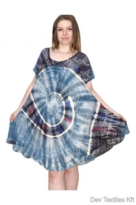 páva mintás kék ruha