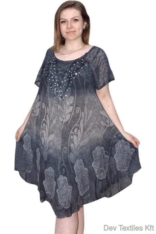 Rövid ruha-Levél és elefánt mintás ruha szürke