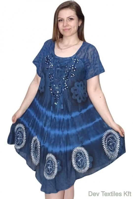 Rövid ruha-OM mintás Indiai ruha indigo