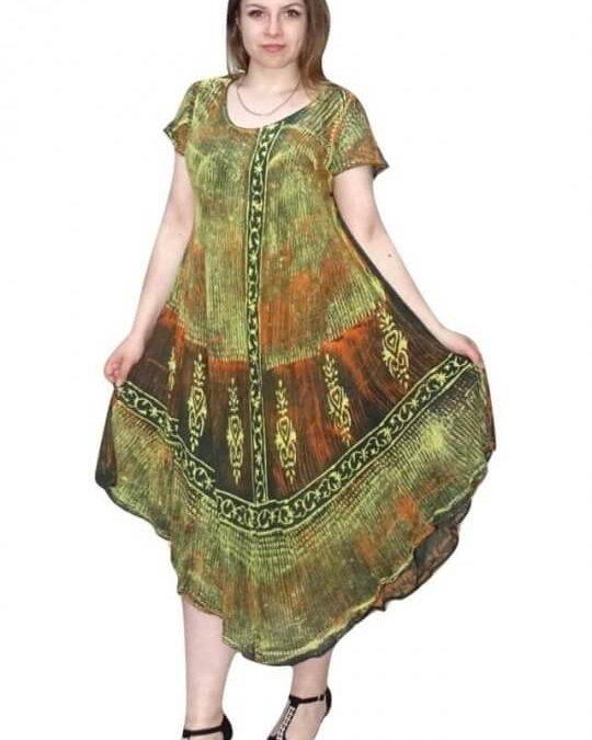 Rövid ujjú hosszú ruha színes absztrakt mintával