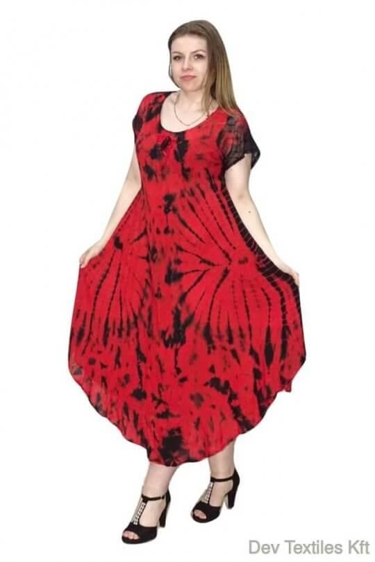 Rövid ujjú hosszú ruha foltos minta