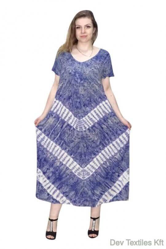 Rövid ujjú hosszú ruha csíkos mintával kék