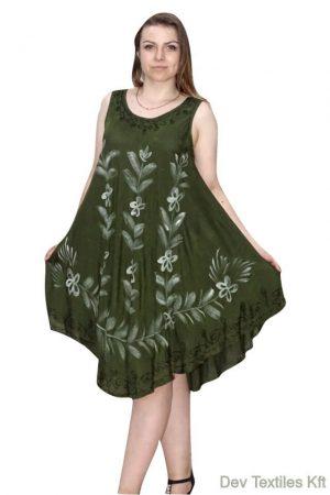 nyári ruha virág mintával zöld színben