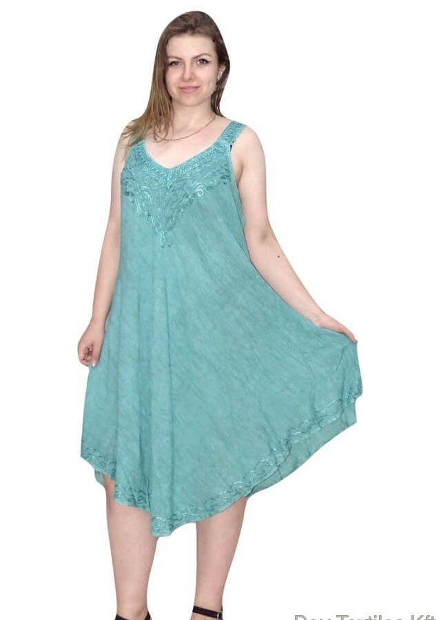 Indiai rövid ruha vékony pántokkal green