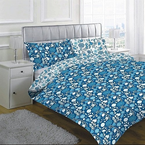 Prémium 3 Részes Pamut Ágynemű Kék Színben Virág Minta
