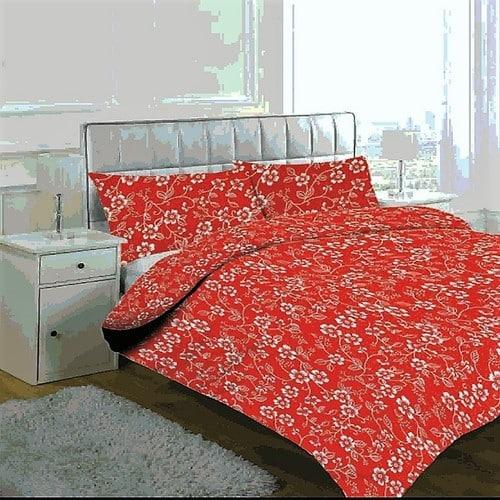 Prémium Pamut Ágynemű Piros Színben Virág Minta