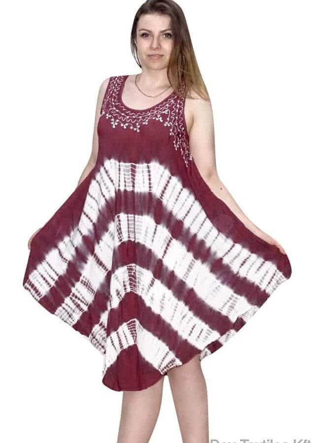Indiai nyári rövid ruha egyedi V vonalú mintával