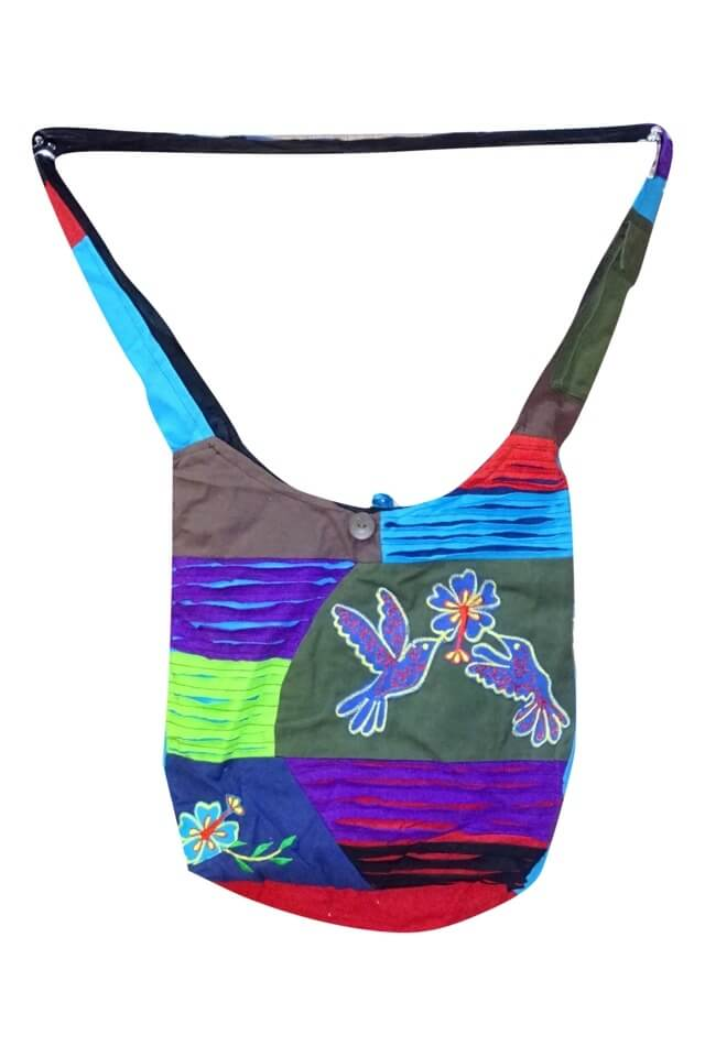 válltáska nepálból színes kockás madár mintával