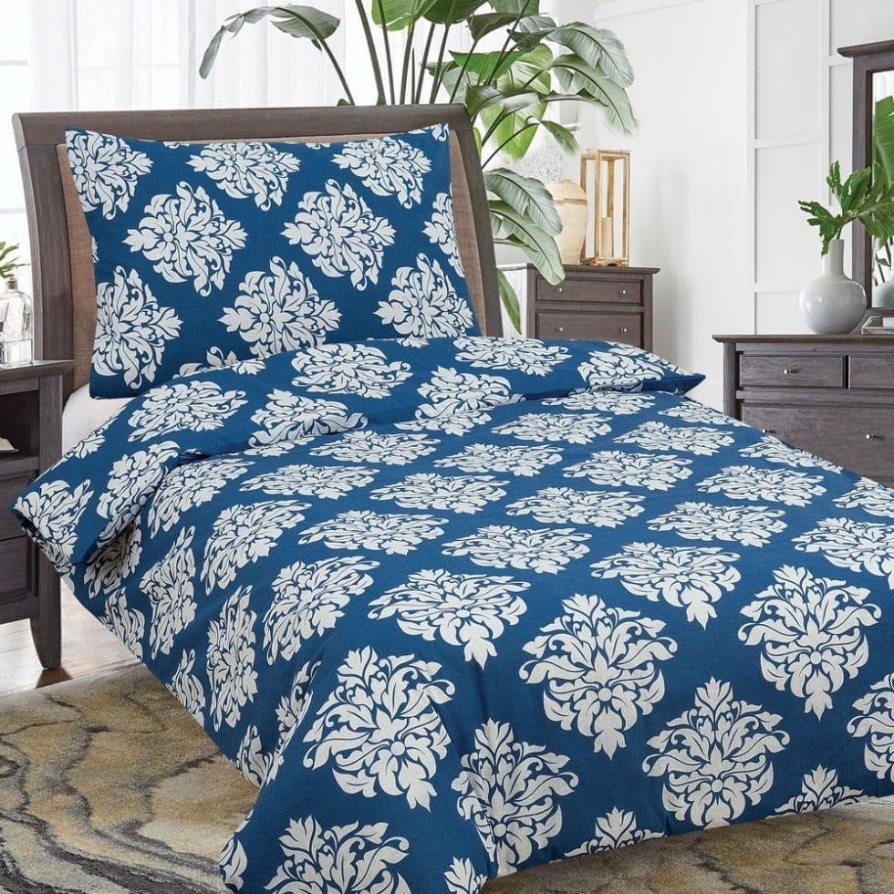 pamut 2 részes ágyneműhuzat kék fehér színben