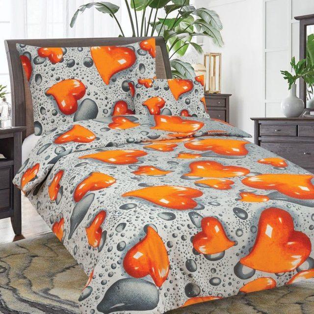 flanel 3 részes ágyneműhuzat narancs szív minta