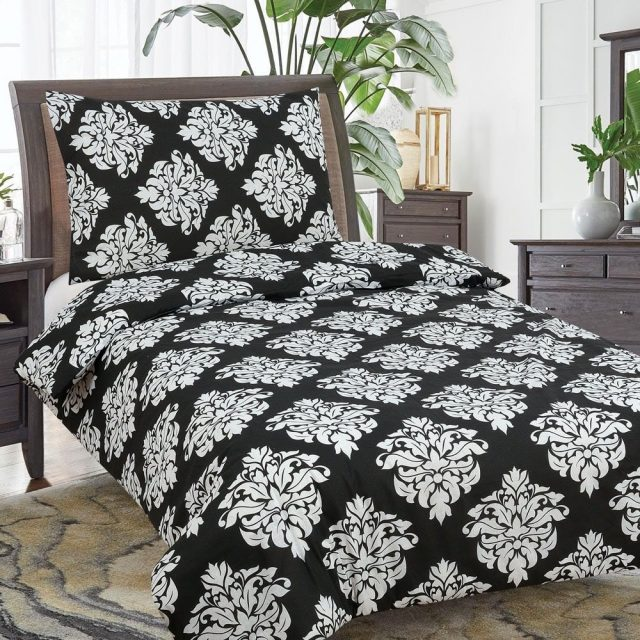 pamut 2 részes ágyneműhuzat fekete fehér színben