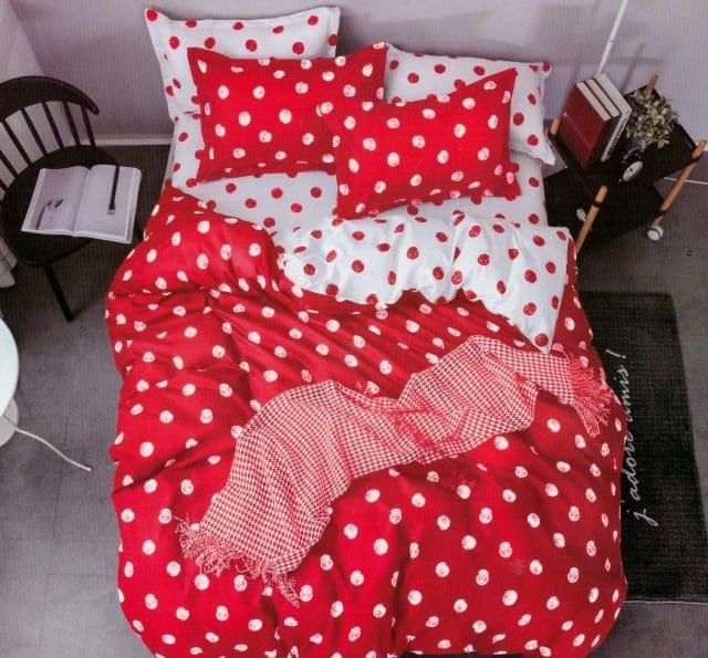 pamut 7 részes ágyneműhuzat piros pöttyös