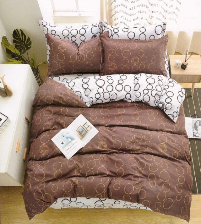 pamut 7 és 3 részes ágyneműhuzat barna karikás