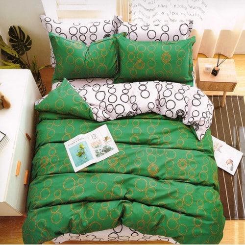 pamut 7 és 3 részes ágyneműhuzat zöld karikás