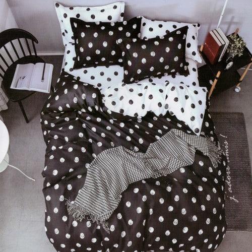 pamut 7 részes ágyneműhuzat fekete pöttyös
