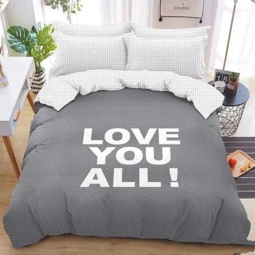 Love feliratos pamut ágyneműhuzat szürke szín