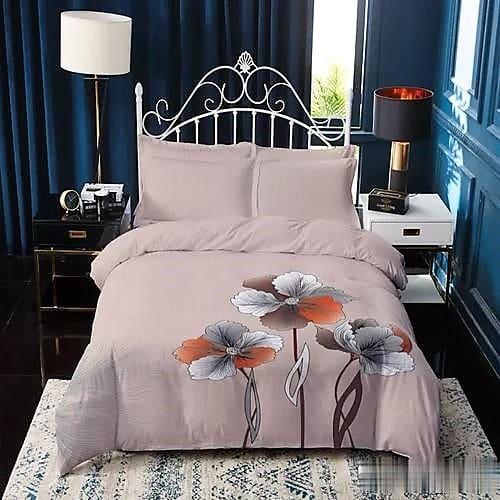 Pamut ágynemű bézs alapon színes virágokkal