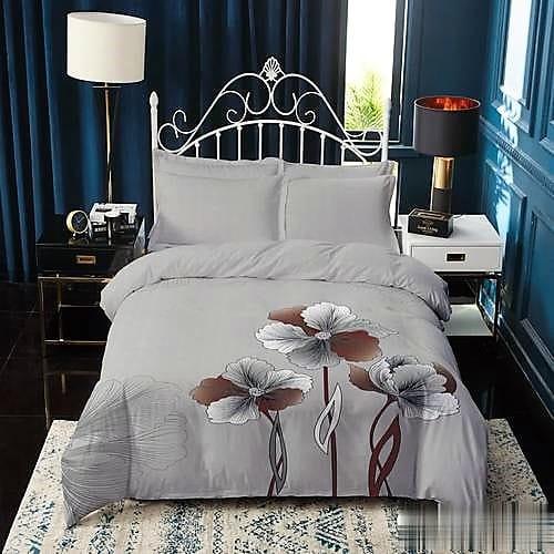 Pamut ágynemű szűrke színbén barna virágokkal