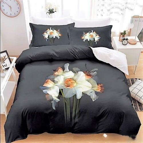 Pamut 7 részes ágyneműhuzat 3D fehér virággal