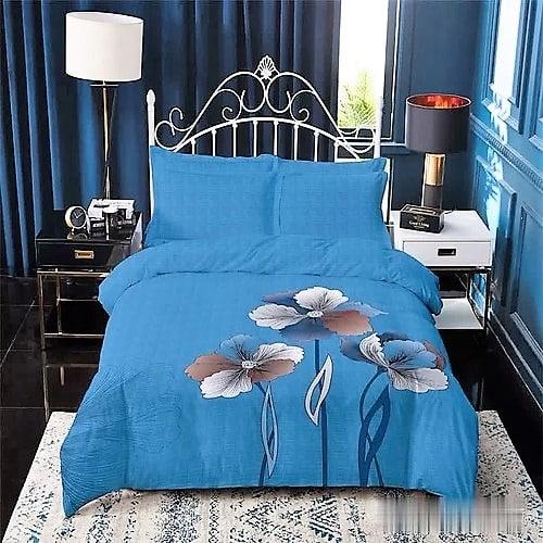 Pamut ágyneműhuzat kék alapon színes virág