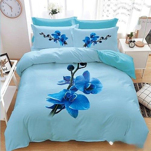 kék színben kék virágok pamut ágynemű
