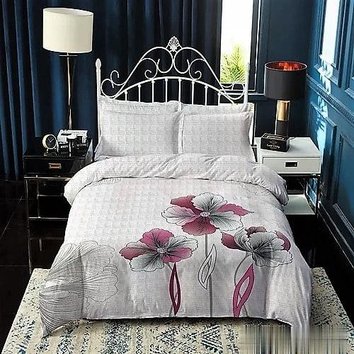 pamut ágynemű fehér alapon rózsaszín virágok