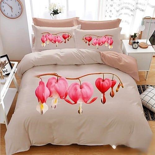 Krém színben rózsaszín virág 3D pamut 7 rész