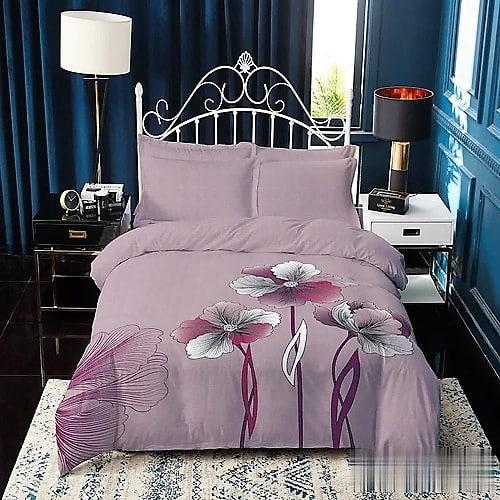 Pamut ágynemű mályva színben virág minta