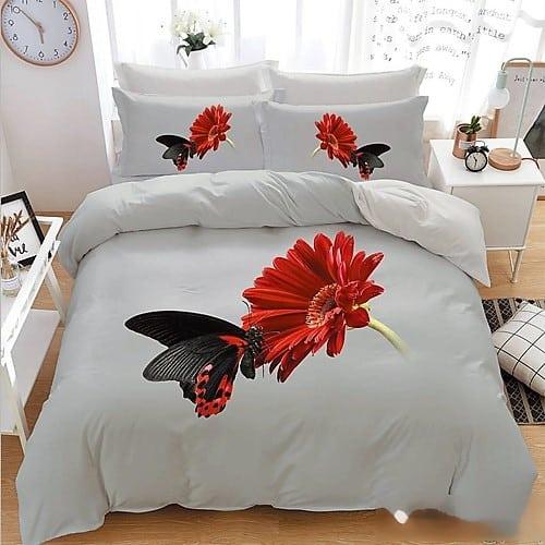 Fehér színben piros virág 3D pamut 7 rész