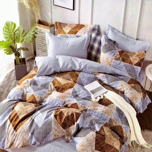 kék színben barna mintás pamut ágyneműhuzat