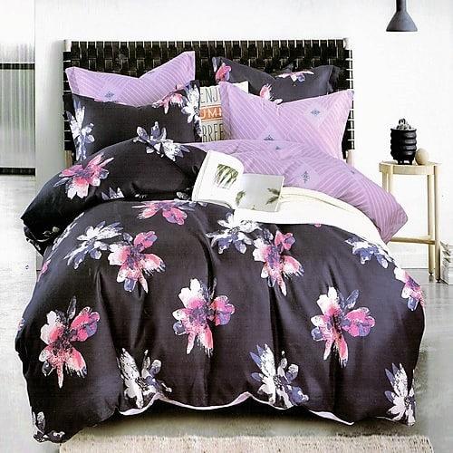 Fekete színben szép virágok pamut ágyneműhuzat