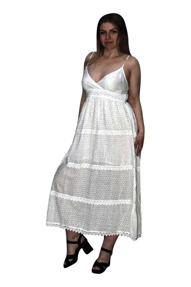 Fehér pamut maxi ruha spagetti pántos