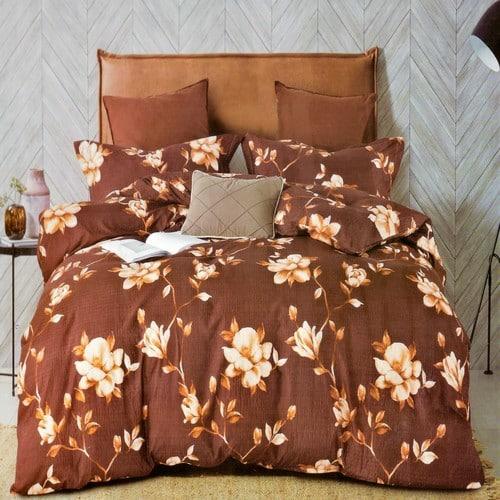 barna színben hangulatos virágok krepp ágyneműhuzat