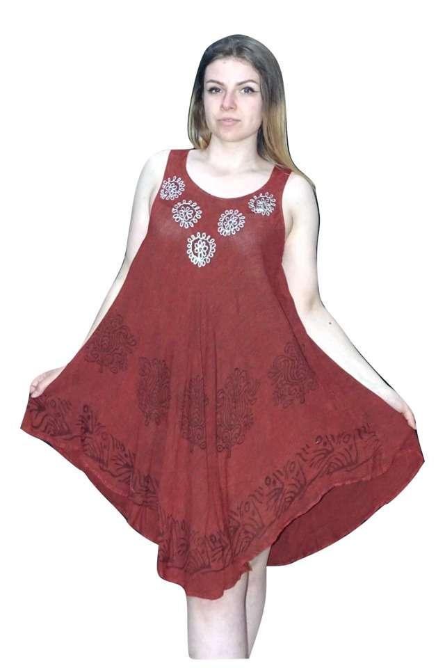 bordó színben rövid nyári ruha indiából