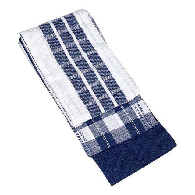 hármas szett pamut konyharuha kék színben