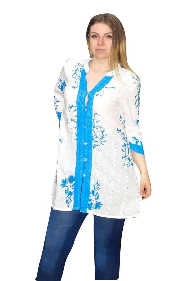 kék mintás pamut ing univerzális méretben