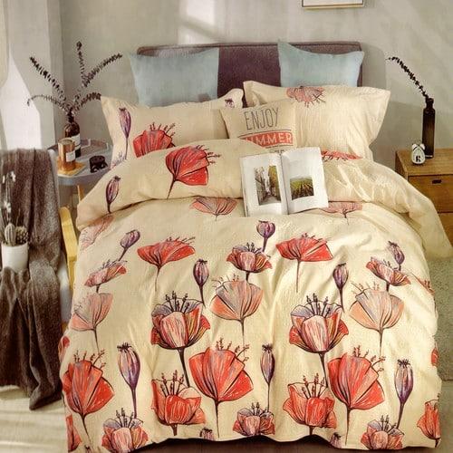 krém színben pipacs virágok krepp ágyneműhuzat