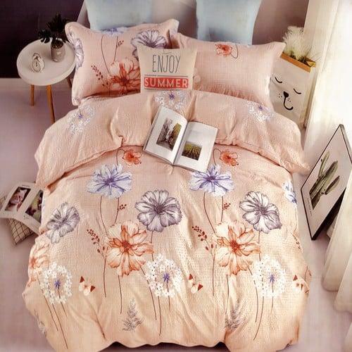 barack színben színes virágok krepp ágyneműhuzat