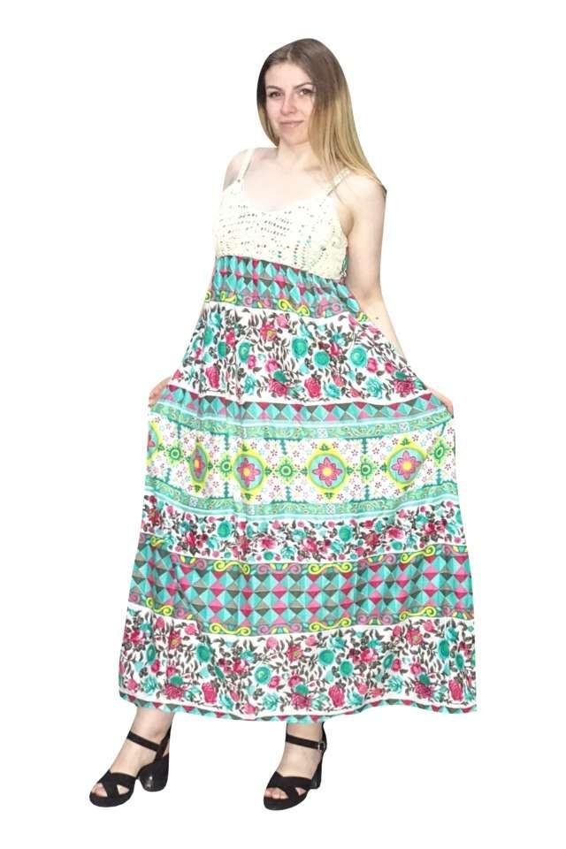 nyári maxi ruha indiából vékony pántokkal