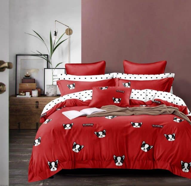 pamut ágyneműhuzat kutyus mintával piros színben