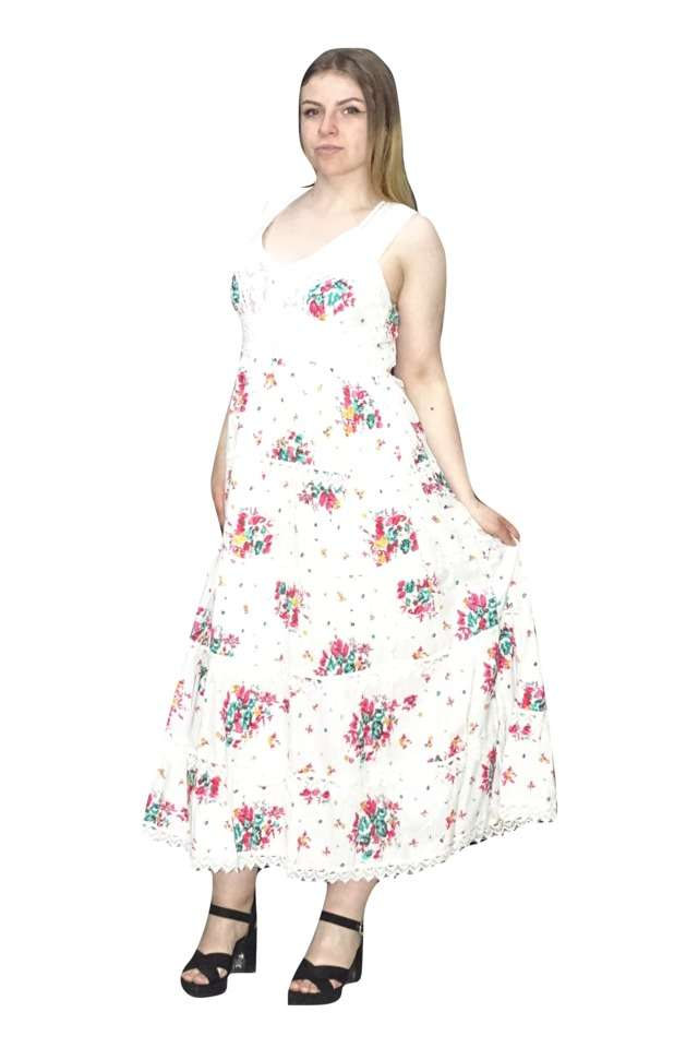 pamut nyári maxi ruha rózsaszín virágokkal