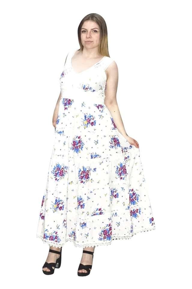 pamut nyári ruha indiából kék virágokkal