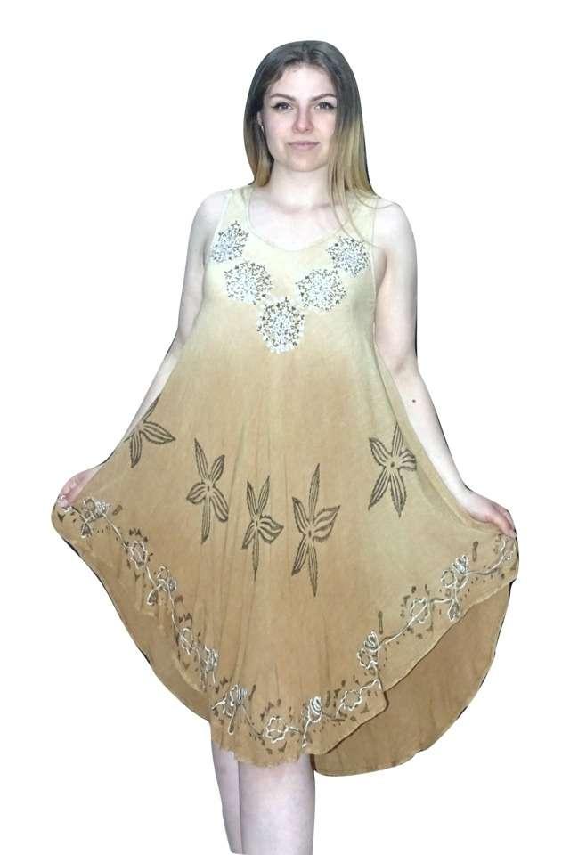 rövid nyári ruha bézs színben indiából