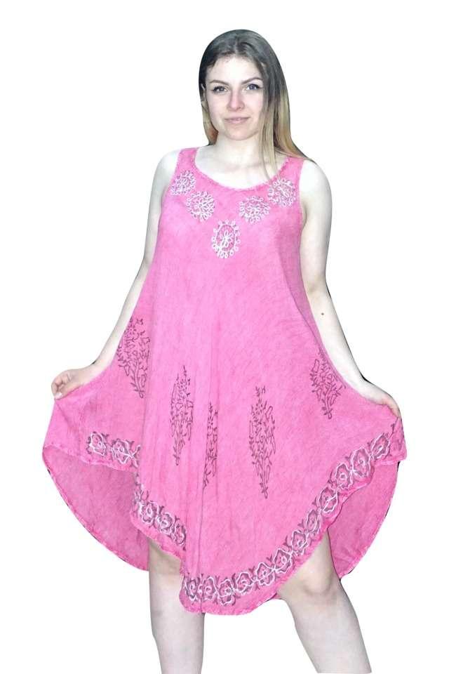 rövid nyári ruha indiából rózsaszín mintás