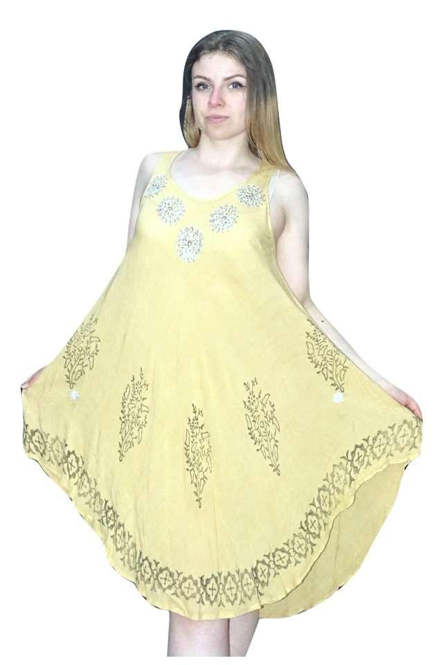 rövid nyári ruha indiából sárga krémszín