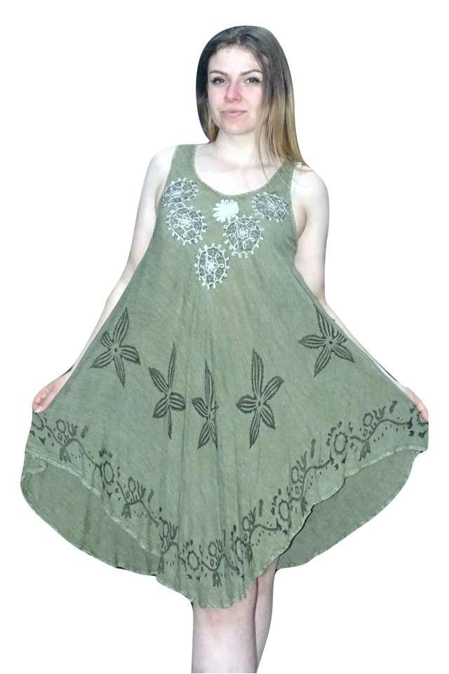 rövid nyári ruha indiából zöld színben