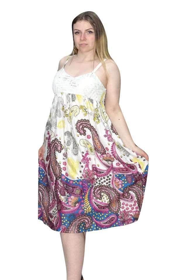 rövid pántos ruha egyedi pink mintával