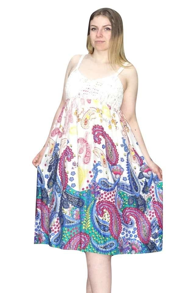 rövid pántos ruha kék rózsaszín minta