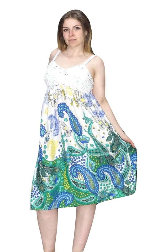 rövid pántos ruha kék zöld mintával