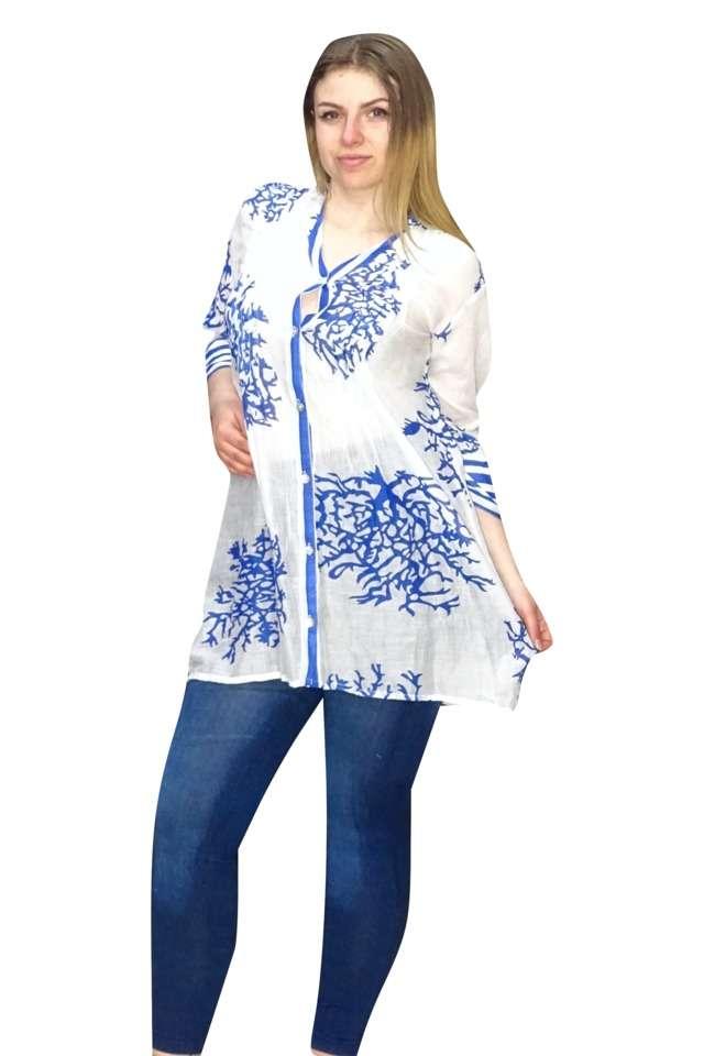 vékony pamut ing indiából kék színben